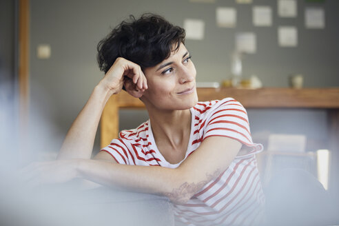 Portrait of woman at home thinking - RBF06125