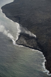 USA, Hawaii, Big Island, Hawai'i Volcanoes National Park, flow of lava, aerial view - HLF01061