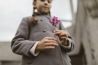Girl's hands holding pink blossom - KMKF00060