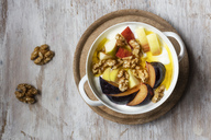 Curd with fruits, apple and plum, walnut and linseed oil - EVGF03269