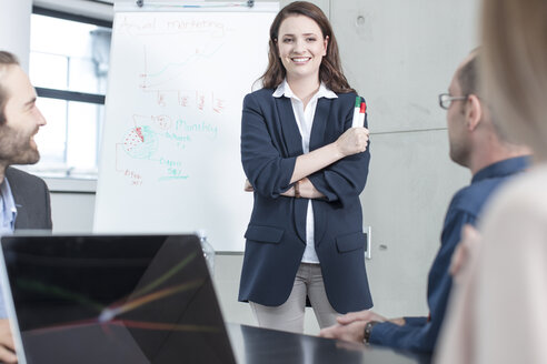 Businesswoman leading a presentation on a meeting in conference room - ZEF14801