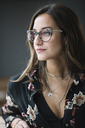 Portrait of fashionable woman wearing glasses and nose piercing - ALBF00242