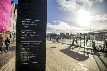 Norway, Hordaland, Bergen, Bryggen, Hanseviertel, sign - BIGF00062