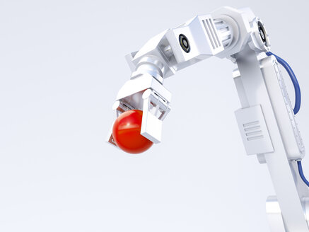 3D Rendering, robot arm holding red ball - AHUF00446