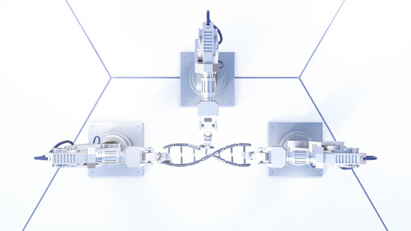 3D Rendering, robot arms repairing DNA string - AHUF00449