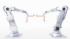 3D Rendering, tug-of-war between robot arms - AHUF00452