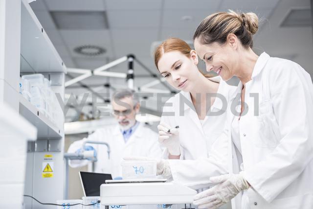 Scientists weighing samples in rain lab - WESTF23727 - Fotoagentur WESTEND61/Westend61