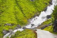 Norway, Hedmark, Tufsindalen Valley, Road, Waterfall - CSTF01493