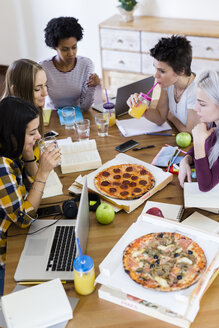 Group of young women at home studying and having pizza - GIOF03395