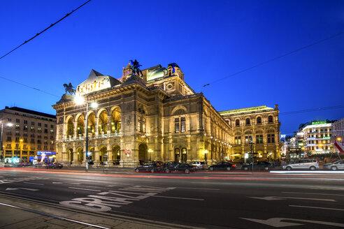 Austria, Vienna, Vienna State Opera, blue hour - PUF00934