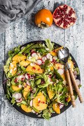 Kaki salad with red radish, pomegranate, avocado and cheese - SARF03421