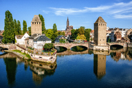 France, Strasbourg, the old towers of the city and the cathedral in the background - KIJF01726