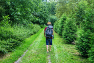 France, Strasbourg, man with travel backpack and straw hat walking on forest path - KIJF01732