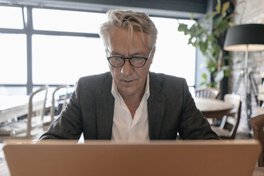 Senior businessman sitting in a cafe, using laptop - GUSF00234