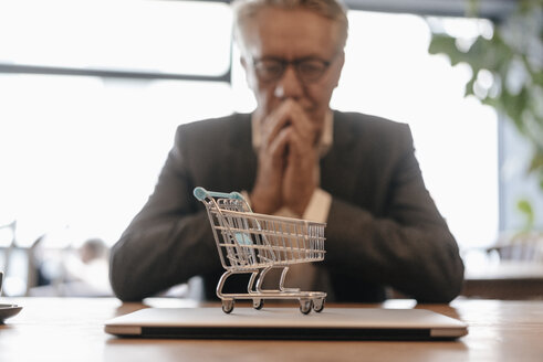 Senior businessman looking at shopping cart on laptop - GUSF00240