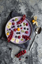Yogurt with fruits, blueberry, red currants, raspberry, kiwi, banane, physalis - SARF03425