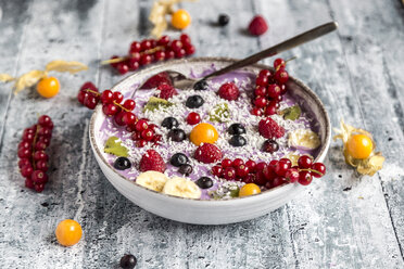 Yogurt with fruits, blueberry, red currants, raspberry, kiwi, banane, physalis - SARF03428