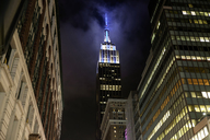 USA, New York, High-rise buildings and Empire State Building at night - HLF01068
