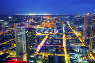 Germany, Hesse, Frankfurt, View from Maintower, city view, blue hour - PUF00963