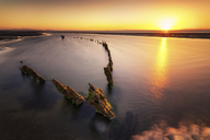 Great Britain, Scotland, East Lothian, Aberlady Nature Reserve, Shipwreck at sunset - SMAF00893
