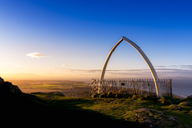Great Britain, Scotland, East Lothian, North Berwick, North Berwick Law, whale jaw bone arch, sunset - SMAF00902