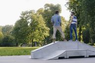 Two friends standing in a skatepark - KNSF03173