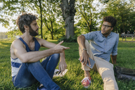 Two friends sitting in a park with mobile device and papers discussing - KNSF03224