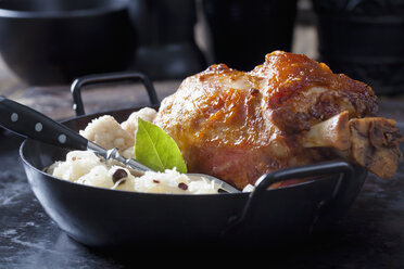Knuckle of pork with bread dumplings and Sauerkraut in roasting tray - CSF28637