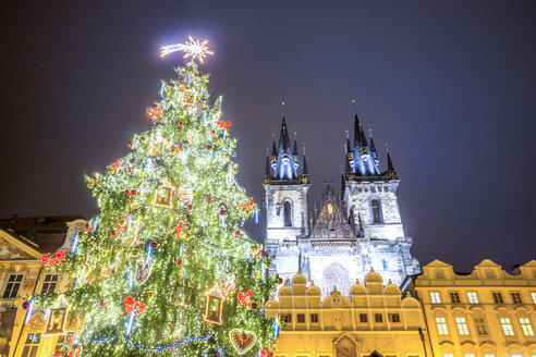Czechia, Prague, Old Town, Market Square and illuminated Church of Our Lady Before Tyn, Christmas market - PUF00978