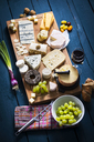 Cheese Platter, cheddar, tete de moine, gorgonzola, goat cheese, french sheep cheese, butter cheese, blue cheese, processed cheese with walnut, pepper cheese, hand cheese, gouda, parmesan - MAEF12469