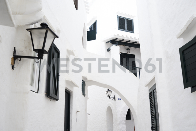 Spain, Menorca, Binibequer Vell, white traditional small village, Houses - IGGF00276