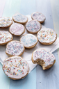 Vegan sweet pastry with sugar icing and coloured sugar beads and granules - IPF00433