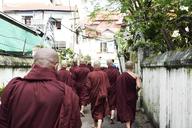 Myanmar, Yangon, Group of novice monks - IGGF00277