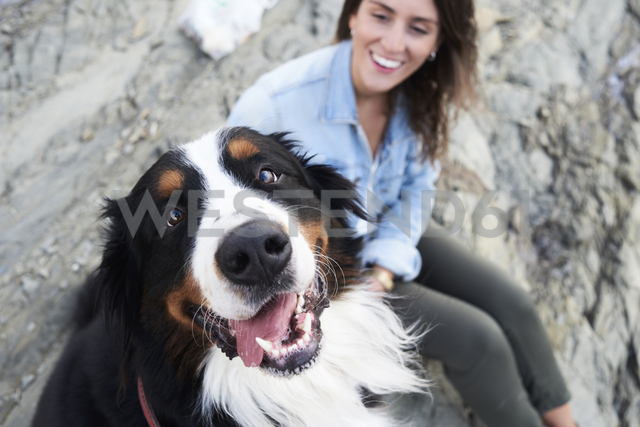 Happy bernese mountain dog looking at camera, his owner smiles next to him - IGGF00291 - Ivan Gener/Westend61