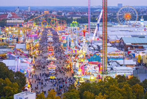 Germany, Bavaria, Munich, View of Oktoberfest fair on Theresienwiese in the evening - SIEF07654