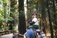 USA, California, Father and baby visiting Sequoia National Park - GEMF01823
