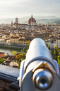 Italy, Tuscany, Florence, Old town, Santa Maria del Fiore and Badia Fiorentina, telescope in the foreground - CSTF01540