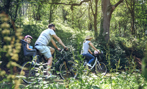 Family riding bicycle in a forest - DAPF00825