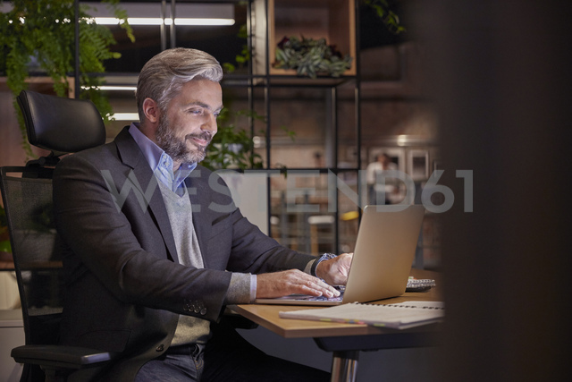 Mature businessman working in modern office, using laptop - WESTF23802