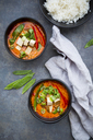 Two bowls of red Thai Curry with snow peas, carrots, bell pepper, spring onions and smoked tofu - LVF06532