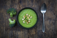 Broccoli soup in bowl, croutons - LVF06541