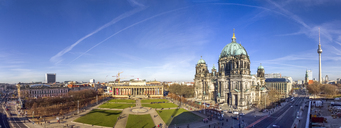 Germany, Berlin, Berlin-Mitte, Panoramic view of Museum Island, Berlin Cathedral and Berlin TV Tower - PUF00992