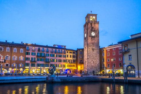 Italy, Lombardy, Lake Garda, Riva del Garda, Torre Apponale, blue hour - PUF01005