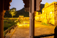India, Rajasthan, Alwar, Heritage Hotel Ram Bihari Palace, terrace in the evening - NDF00710