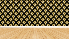 Wooden floor and wallpaper with ornamental pattern, 3D Rendering - KLRF00566