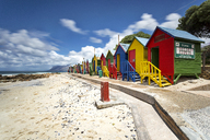 Africa, South Africa, Western Cape, Cape Town, St. James, False Bay, colorful cabanas - FPF00138