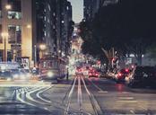 USA, California, San Francisco, California Street at night - STCF00388