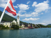 Austria, Salzkammergut, Salzburg State, Lake Wolfgangsee, St. Wolfgang, View of Hotel Weisses Roessl - AMF05579