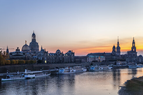 Germany, Saxony, Dresden, Skyline in the evening - PUF01059