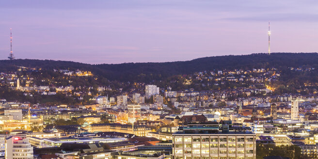 Germany, Baden-Wuerttemberg, Stuttgart, cityview in the evening, panoramic view - WDF04244